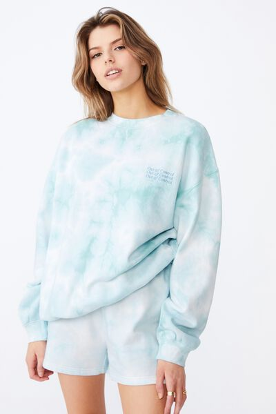 Oversized Graphic Crew, ETHER TIE DYE/OUT OF CONTROL