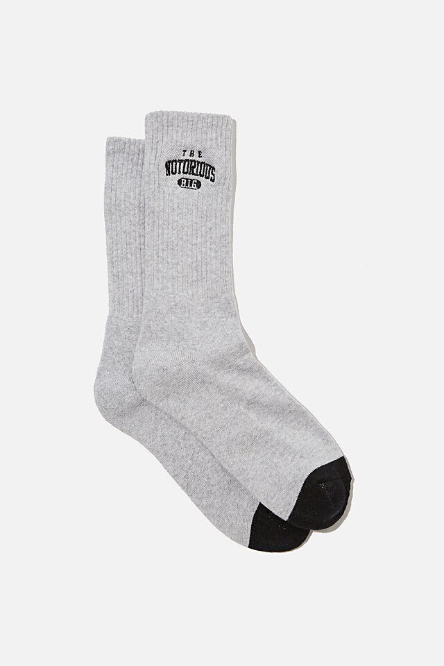 License Retro Rib Socks, LCN BIGGIE GREY MARLE