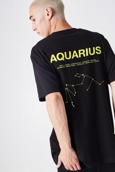 Aquarius Horoscope T Shirt, BLACK/YELLOW