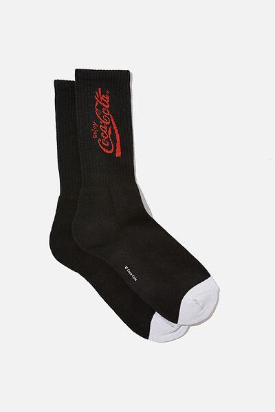 License Retro Rib Socks, LCN COK BLACK RED COCA COLA SCRIPT