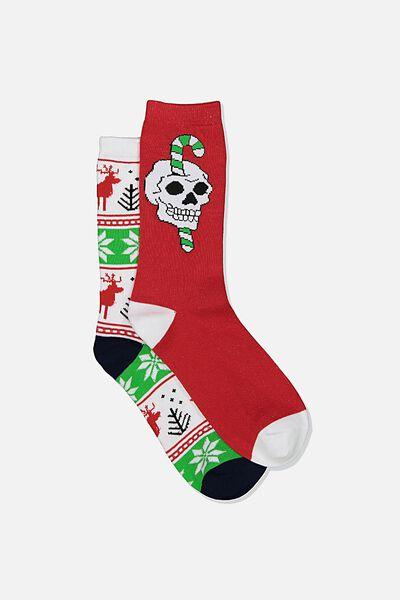 Xmas Gift Pack Socks, CANDY SKULL/REINDEER