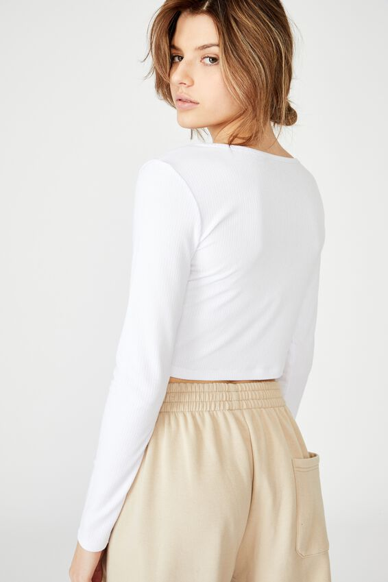 Notch Front Ls Top, WHITE
