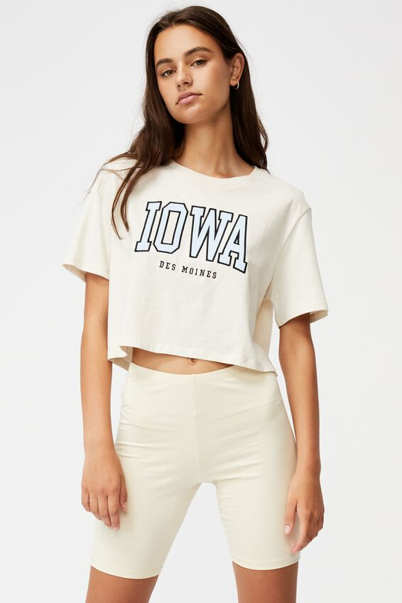 Short Sleeve Crop Graphic T Shirt, IVORY/IOWA