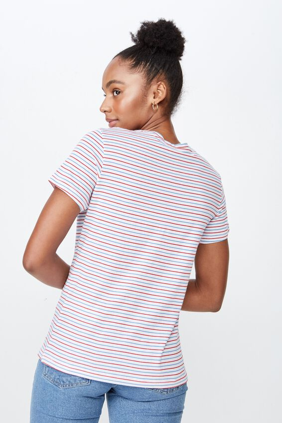 Basic Graphic T Shirt, CELEST STRIPE/EMBROIDERY 1