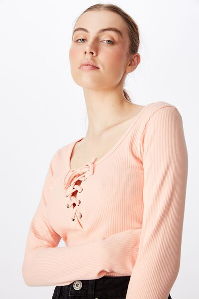 Long Sleeve Laced Up Top, VINTAGE SEASHELL