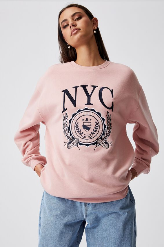 Oversized Graphic Crew, SILVER PINK/NYC