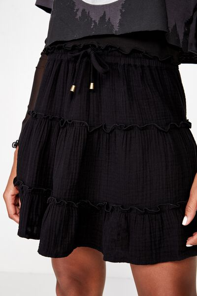 Tiered Skirt, BLACK