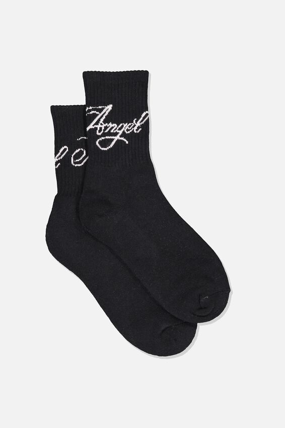 Retro Sport Sock, BLK_NO ANGEL