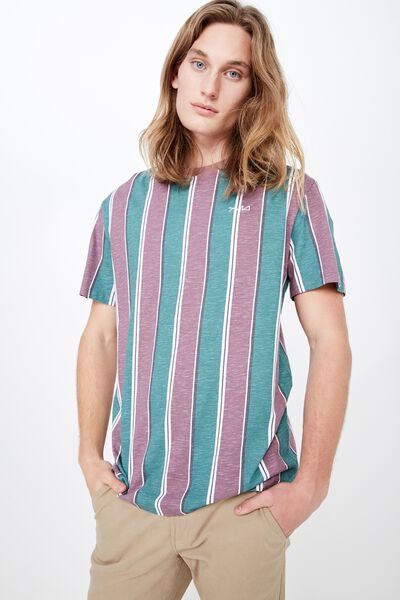 Embroidered Stripe T Shirt, GREEN/PEACH STRIPE