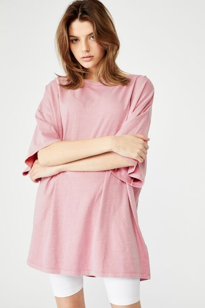 T Shirt Dress, WASHED DAWN PINK