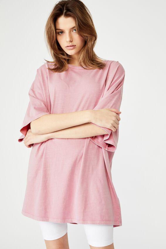 T Shirt Dress, WASHED DAWN PINK