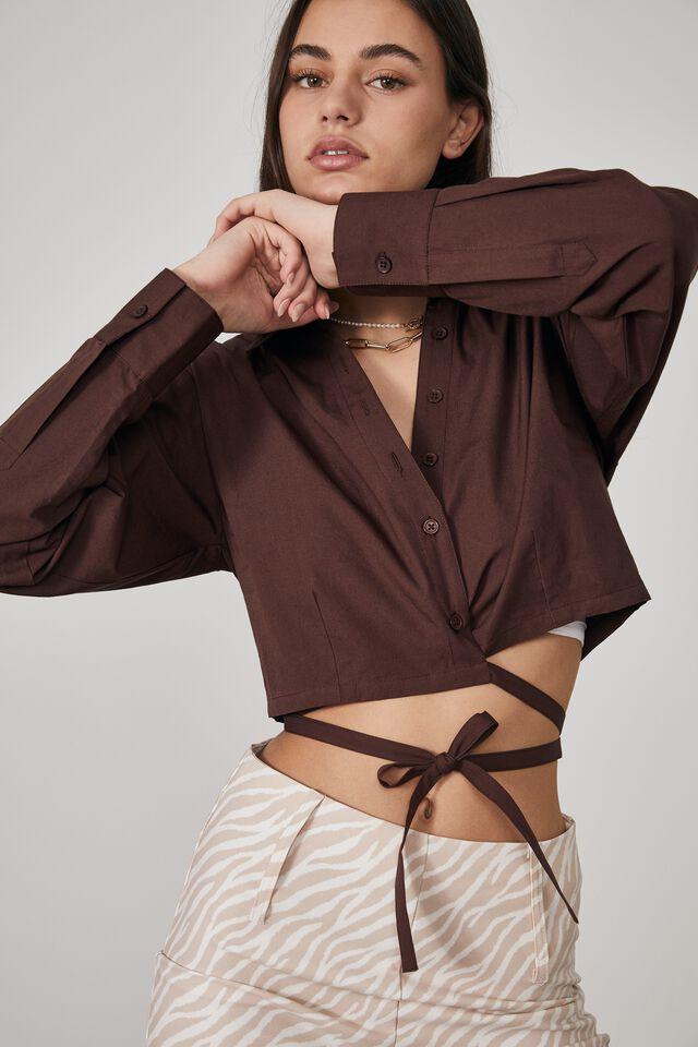 Long Sleeve Cropped Wrap Shirt, BITTER CHOC