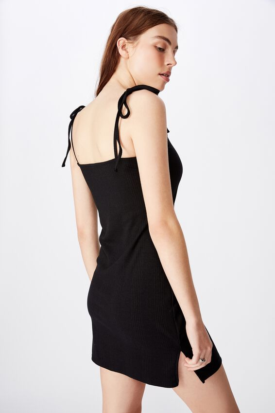 Side Split Dress, BLACK