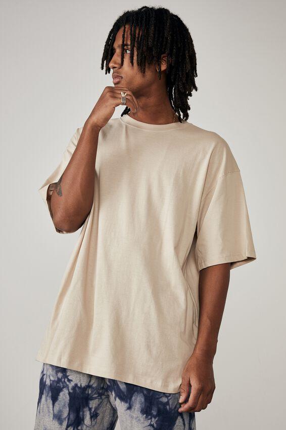 Basic Relaxed T Shirt, BEIGE