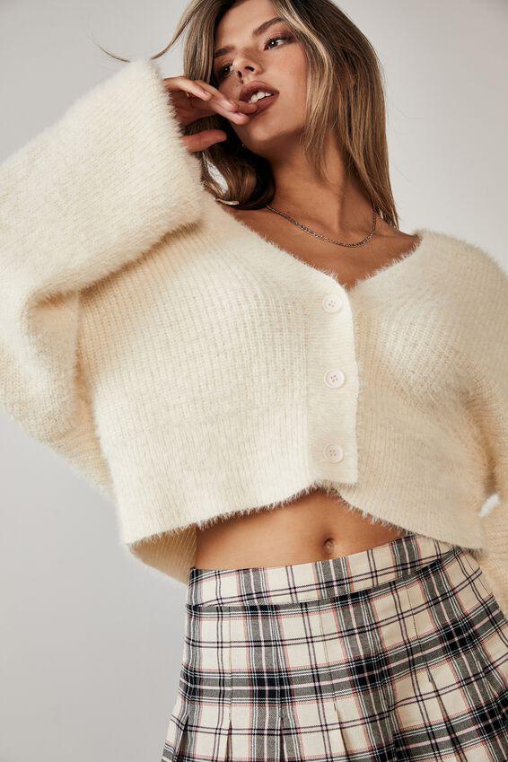 Fluffy Knit Boxy Crop Cardi, IVORY