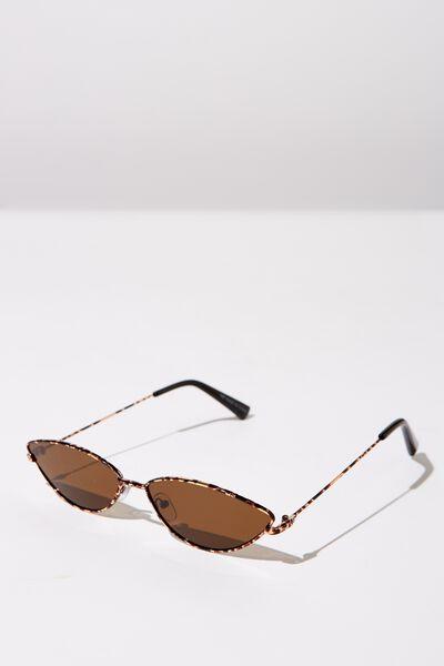 Mini Metal Cateye Sunglasses, S.GOLD TORT_BRN