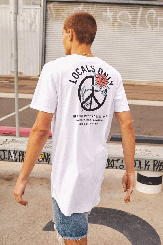 Curved Graphic T Shirt, WHITE/LOCAL ROSE