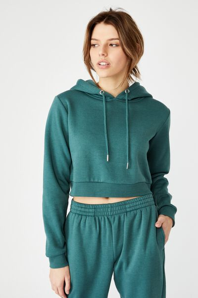 Classic Crop Hoodie, STORMY GREEN