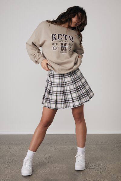 Pleated Skirt, ARIA CHECK_CHOCOLATE