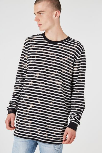 Ls Shaded Stripe Tee, BLACK/WHITE