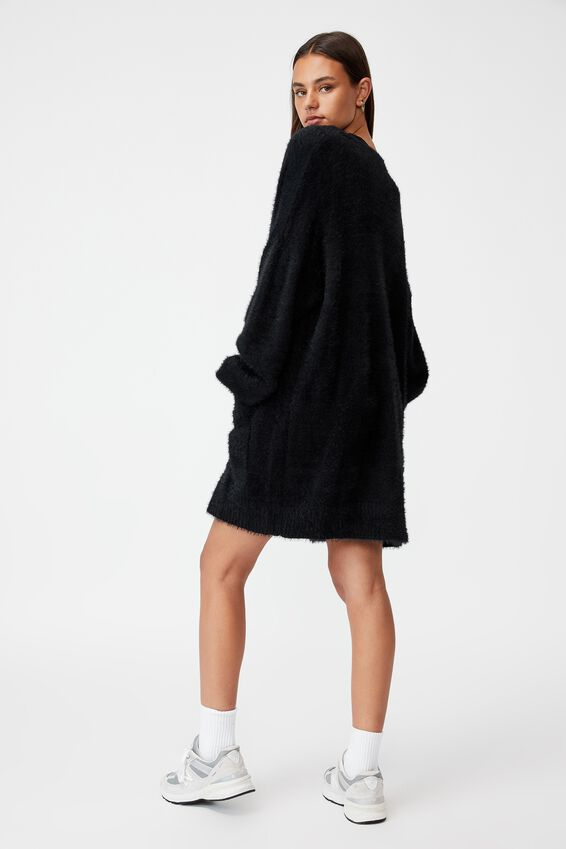 Fluffy Knit Longline Cardigan, BLACK