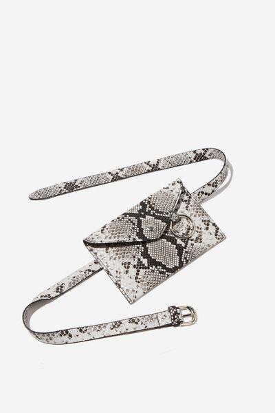 Metal Ring Belt Bag, SNAKE
