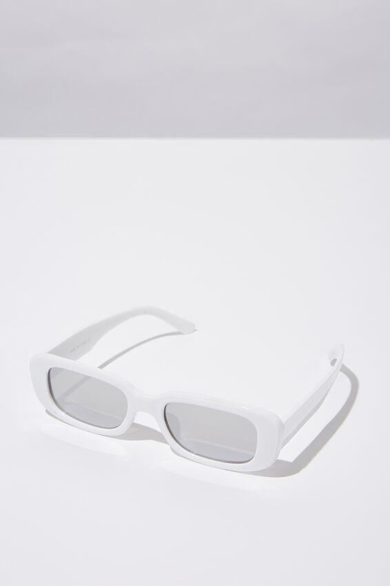 Short Mod Sunglasses, MATT WHITE_MIRROR