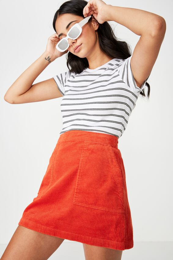 Cord Skirt, FLAME SCARLET