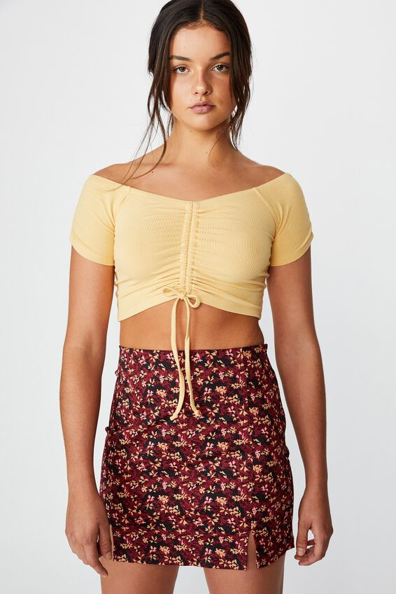 Pull Front Off The Shoulder Rib Top, TEMPURA YELLOW