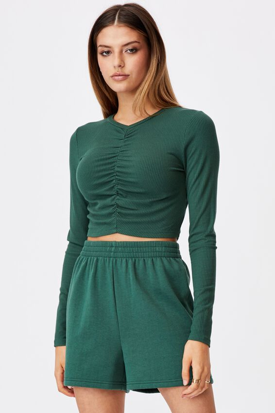Long Sleeve Cinch Front Top, TREKKING GREEN
