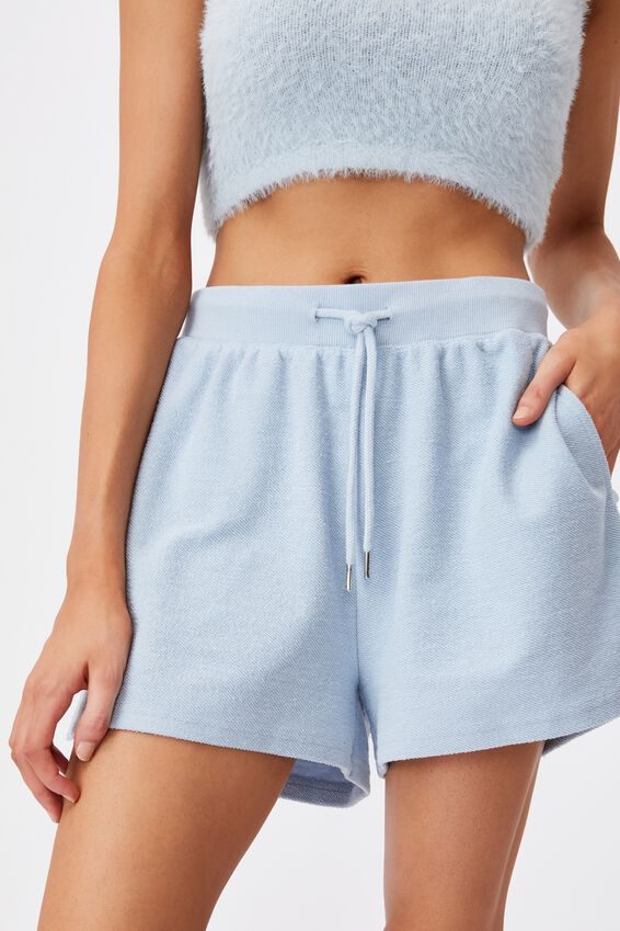 Reverse Fleece Short, SKYWAY BLUE
