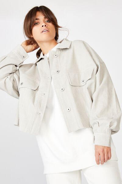 Cord Crop Jacket, OYSTER