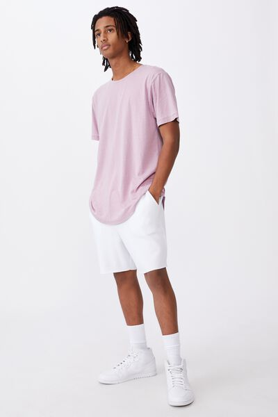Longline Curved Washed T Shirt, FUSCHIA