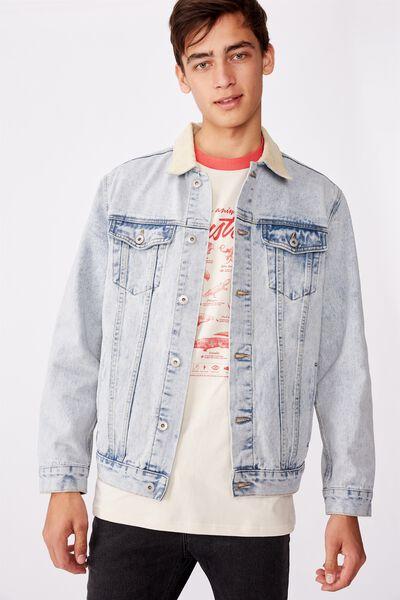 Cord Collar Denim Jacket, PALE INDIGO STONE