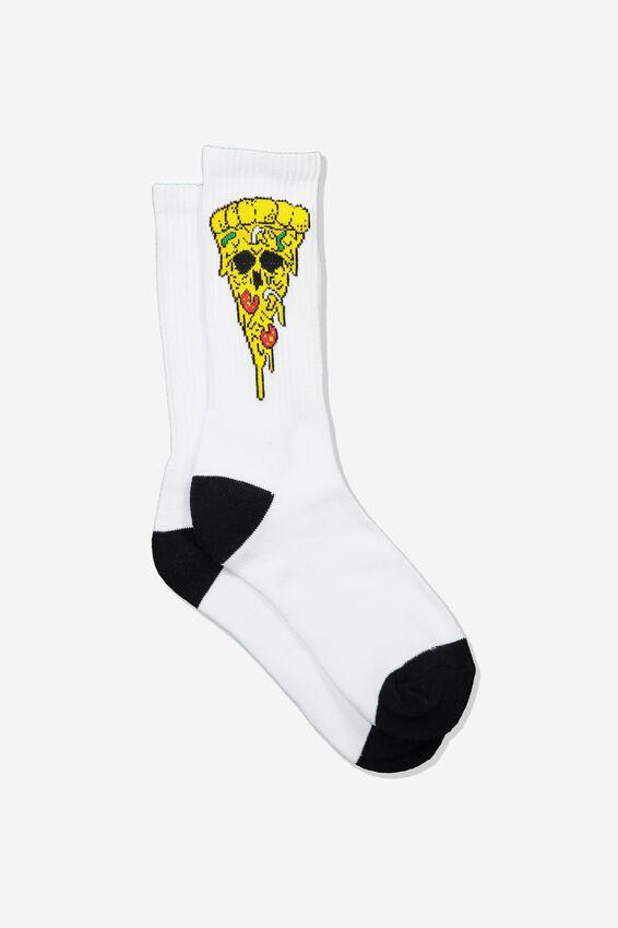 Retro Ribbed Socks, PIZZA SKULL