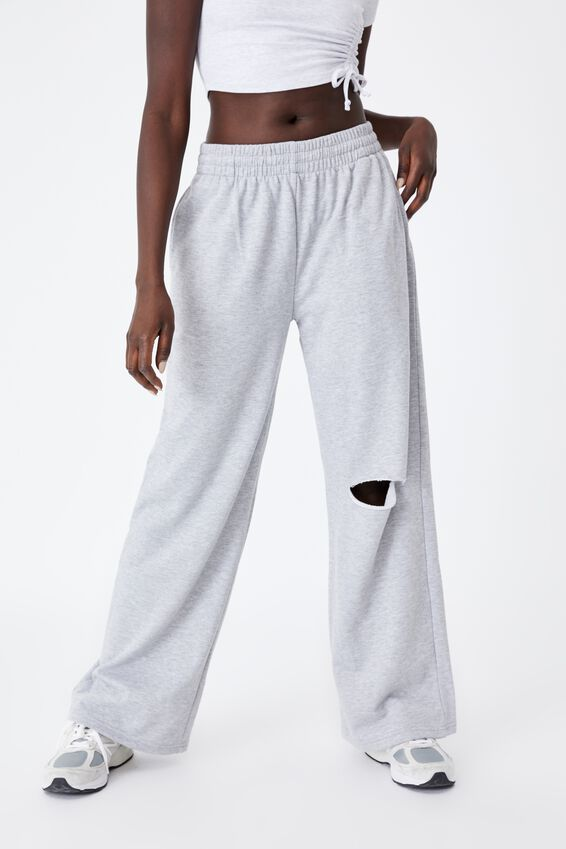 Wide Leg Trackpant, GREY MARLE