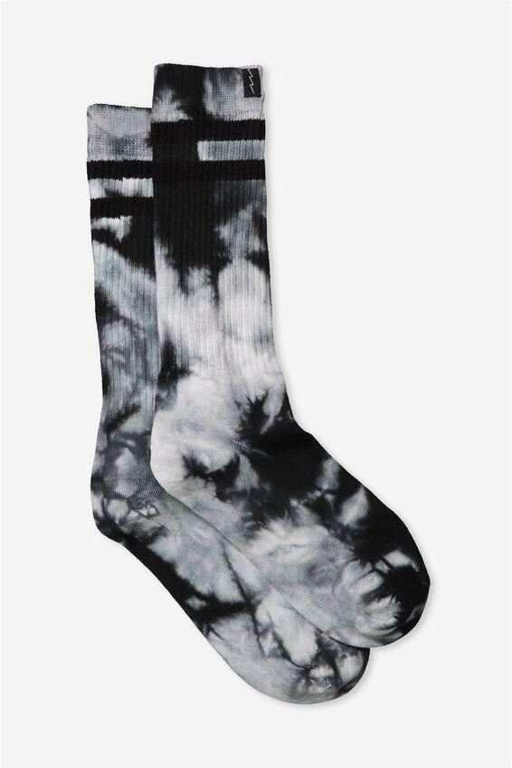Retro Ribbed Socks, BLACK TIE DYE-STRIPE