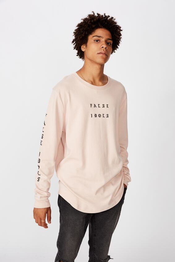 Curved Long Sleeve Graphic T Shirt, SANDY PEACH/IDOLS OF FALSE