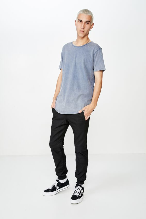 Washed Curved T Shirt, WASHED NAVY