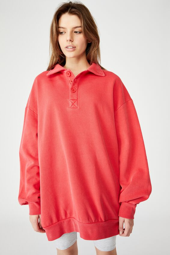 Oversized Collared Crew, WASHED LYCHEE