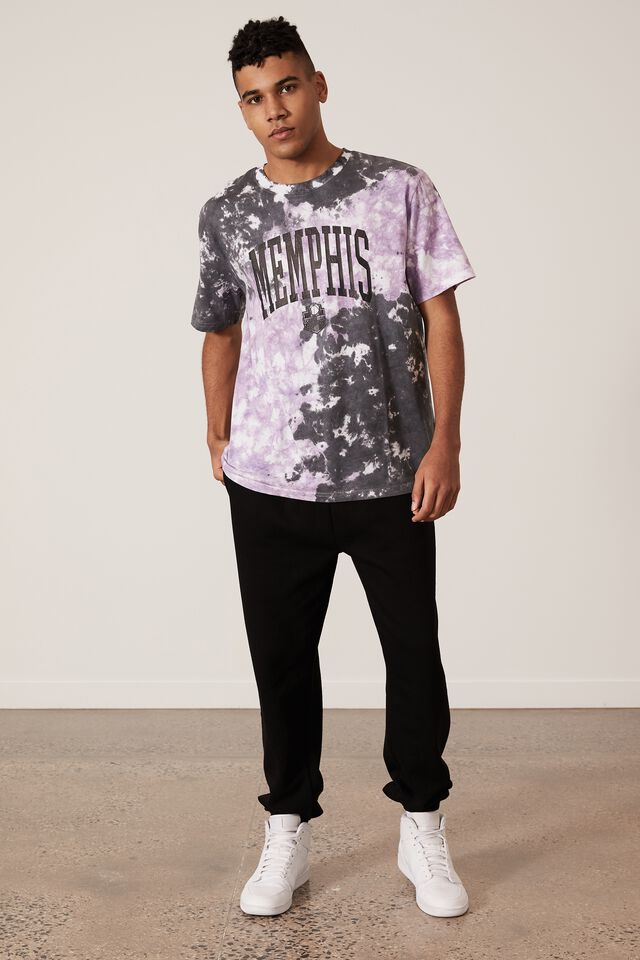 Regular Graphic T Shirt, PURPLE BLACK TIE DYE/MEMPHIS