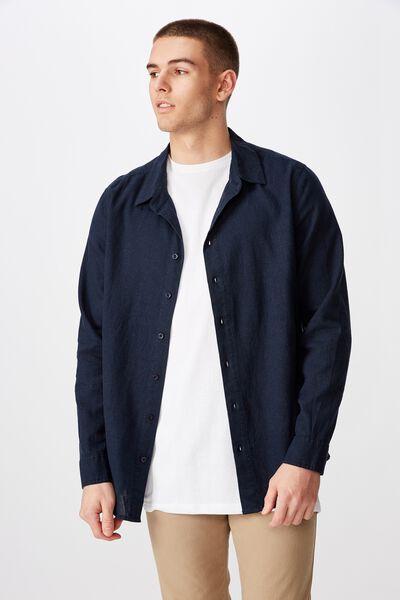 Long Sleeve Linen Blend Shirt, NAVY