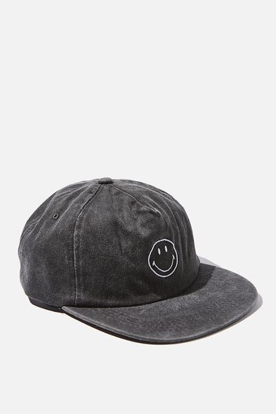 License Washed Flat Peak Cap, LCN SMILEY WASHED BLACK