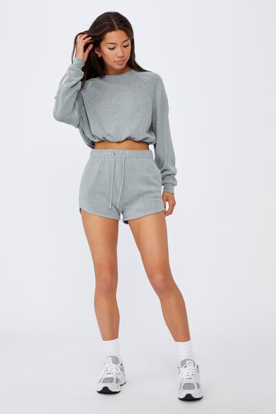 Textured Jersey Pull On Sporty Short, GREY