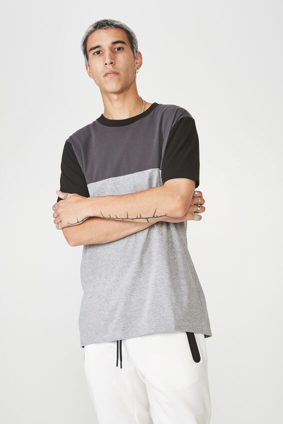 Slim Panelled T Shirt, GREY/BLACK
