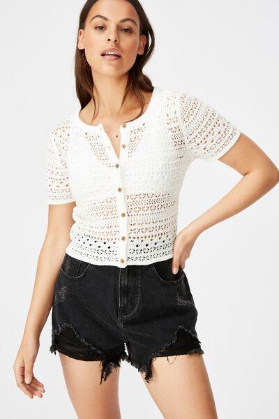 Crochet Short Sleeve Cardi, WHITE