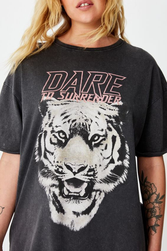 Oversized Graphic Tee, WASHED BLACK/DARE TO SURRENDER
