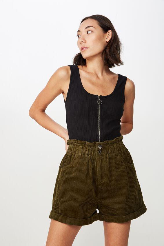 Cord Paperbag Short, WINTER MOSS