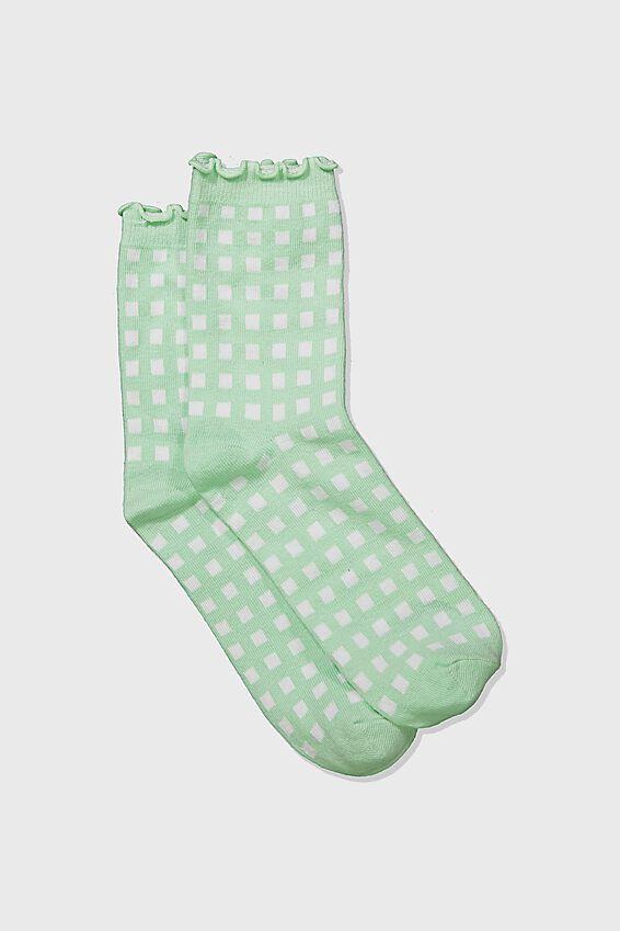 Embroidered Ruffle Edge Sock, PATINA GREEN/WHITE CHECK