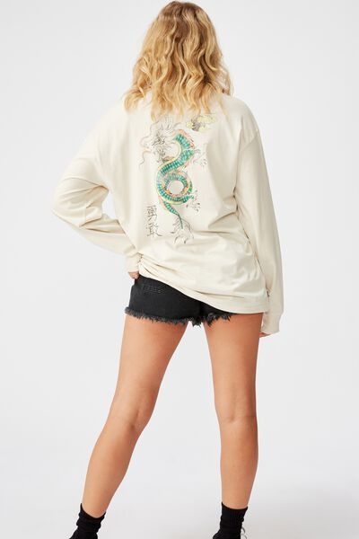 Oversized Ls Graphic Tee, ORIENTAL DRAGON_WASHED IVORY